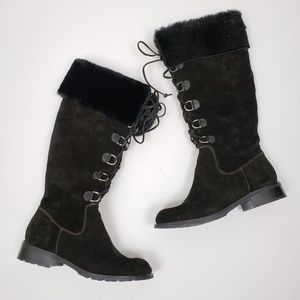 Sofft Shearling Trim Suede Lace Up Boots Sz 7.5M